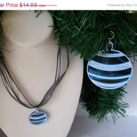 Christmas in July Sale Christmas  ornament with matching necklace boxed set blue mirrored  stripes