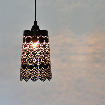 BLACK Lace Pendant Lamp - UpCycled Hanging Mesh Metal Garden Planter Lighting Fixture - BootsNGus Lamps Design