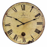 IMAX Beautifully Rustic Large Wall Clock Decor with Pendulum