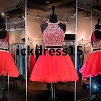 Beads Halter Two Piece Short Party Homecoming Dress Formal Graduation Prom Dress