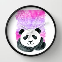 Lazy Panda in Pink & Purple Watercolor with doodles Wall Clock by micklyn
