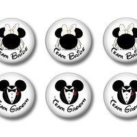 Mickey Mouse & Minnie Mouse Team Bride, Team Groom Wedding Buttons, Disney Wedding Buttons