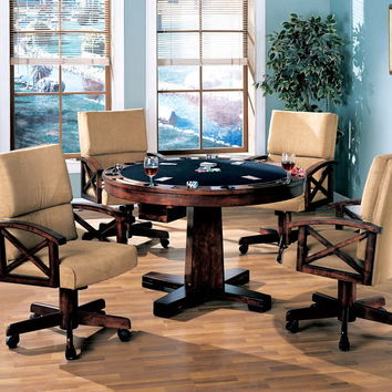 Coaster 100171-72 5 pc marietta collection man cave walnut brown finish wood game room table , poker, bumper pool, dining