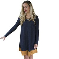 Women's Long Sleeve Loose Casual Round Neck Candy Color T-shirt Blouse Sweater Dress