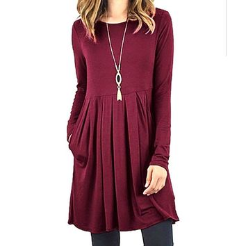 O-neck Solid Casual Dress Autumn Winter Long Sleeve Pleated Dresses Pockets Swing T- Shirt Dresses Femme Robe Plus Size AM101