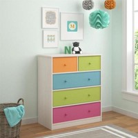 Baby Bureau Nursery Storage Pine Chest With 5 Fabric Removable Bins