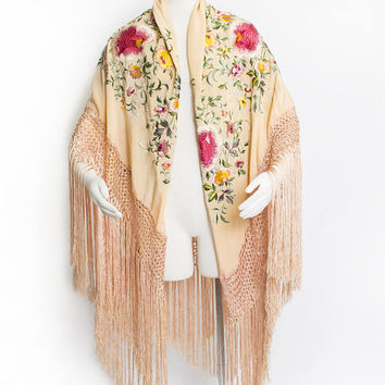 Vintage 1920 Piano Shawl - Peach Silk Embroidered Floral Roses Fringe Deco Wrap