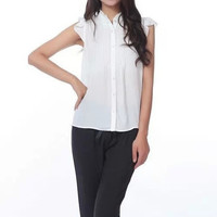 Black Pleated Mandarin Collar Cap-Sleeve Button Shirt