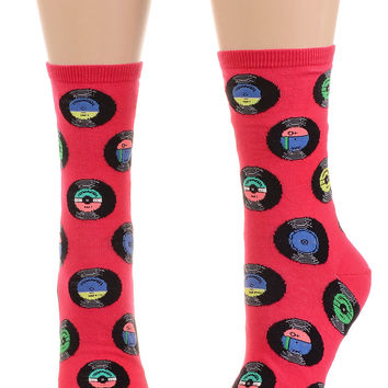 Spin The Beat Record Socks in Raspberry