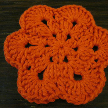 Crochet Coaster - African Flower Coasters - Set of Four Orange Coasters or Wash cloths