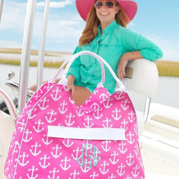 Monogram Anchor Beach Bag, Pink Anchor Travel Tote, Large Weekender Bag, Monogrammed Pink Anchor Beach Bag, Spring Break Bag, Monogram Beach