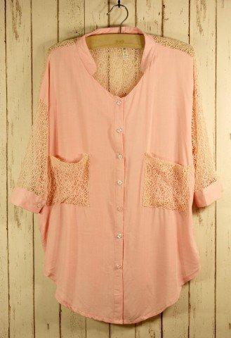 Best Lace Forward Shirt  in Pink - Retro, Indie and Unique Fashion