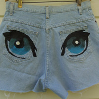 HighWaisted Light Denim CatEye Shorts W/ Studs by MadMixFashion