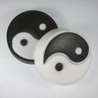 2 Yin Yang soaps - black and white, zen, balance, soap for men, party favor, inverse colors, Taoism, Taoist