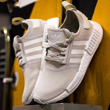Adidas NMD Fashionable Young Shoes Trending Women Leisure Running Sports Shoes Beige B