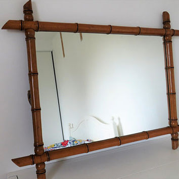 Antique French, Large, Faux Bamboo Mirror, Home Decor