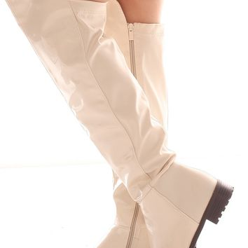 BEIGE PATENT FAUX LEATHER OVER THE KNEE BOOTS