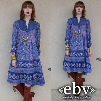 Vintage 70s India Gauze Hippie Boho Festival Tent Dress S M L