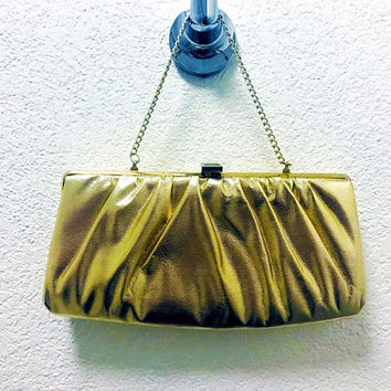 Vtg. 80s - 90s Shiny Metallic Gold Vinyl Evening Bag / Clutch, Gold Metal Clasp and Frame Hardware, Gold Chain Strap, Black Inside Lining