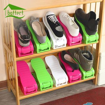 Home Shoe Cabinet Shoes Rack Plastic Shoe Shelf Storage Shoe Organizer Double Adjustab