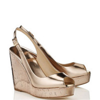 Jimmy Choo Mirror Leather and Metallic Cork Wedges in Nude - Avenue K