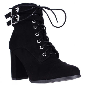 madden girl Klaim Lace Up Combat Ankle Boots, Black, 7 US