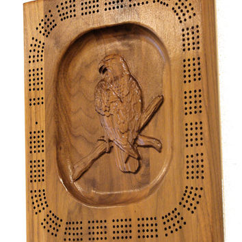 Carved Cribbage Board - Eagle Cribbage Board - 3D Wood Cribbage Board - Wood Wall Art