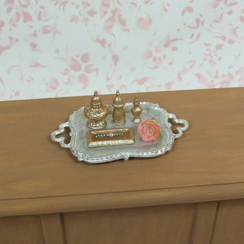 Dollhouse Miniature Elegant White Tray with Rose Bottles & More