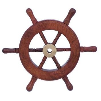 "Decorative Wooden Ship Wheel  6""- Wood and Brass"