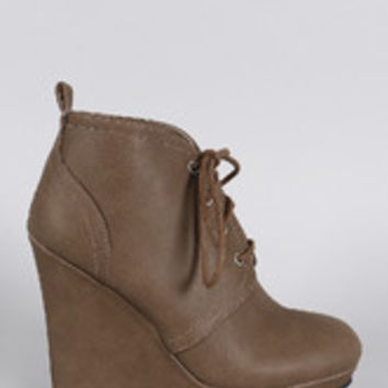 Women's Qupid Distressed Nubuck Lace Up Wedge Bootie