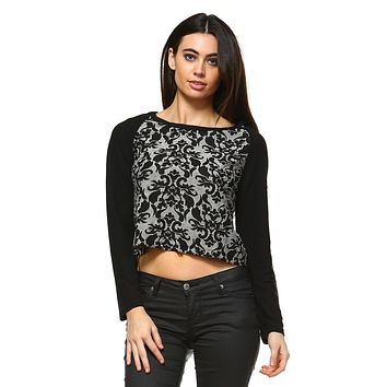 Women'S Floral Print Crop Sweater