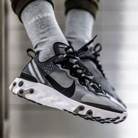 "Nike Upcoming React Element 87 ""Black&Grey"" Running Shoes AQ1090-001"