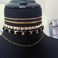 Gold Necklace Stack -Pearl, Velvet, Curb and Delicate Chokers and Layering Chain Jewelry