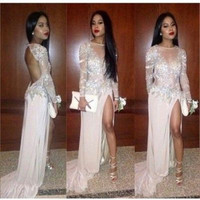 Long Sleeve Prom Dress,White Prom Dress,Long Evening Dresses