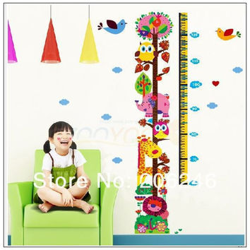 Hot Sale  Zoo Kids Growth Chart Height For Home/Kids Rooms DIY Decoration Wall Stickers SM6