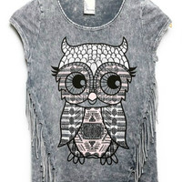 The Owl Fringe Tee - Kids Top