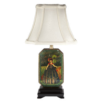 Vintage Victorian Girl Tin Lamp