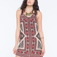 Angie 2 Strap Border Print Dress Red  In Sizes