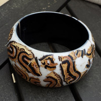 Handcrafted Black Brown White Luan Tree Wood Stretch Bangle Bracelet Philippines