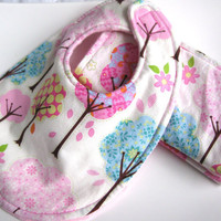 Baby Girl Bib & Burp Cloths Set - Whimsical Trees - Pink Minky Dot -  Baby Shower Gift Set