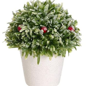 "Fake Snowy Rosemary & Red Berry Topiary Ball in Pot - 7"" Tall"