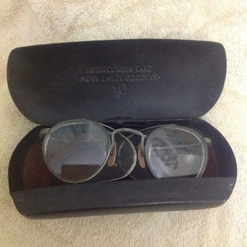 AO American Optical Vintage Steampunk Safety Glasses With Metal Case