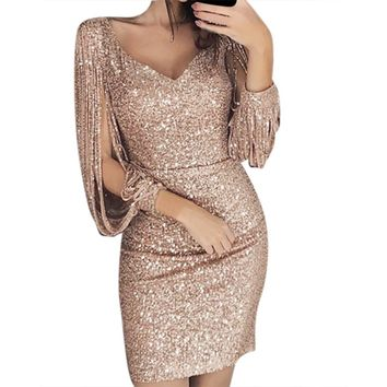 party dress women sexy velvet bodycon backless Women Solid Sequined Stitching Shining Club Sheath Long Sleeved Mini Dress #g6