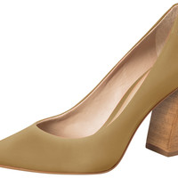Tan Leather Pump Sand High Heel - Dumond