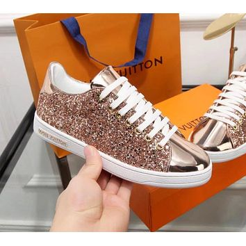 LV Louis Vuitton Trending Women Stylish Shiny Sequins Flats Sport Shoes Sneakers Rose Golden I-ALS-XZ