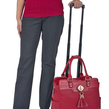 """THE PHOENIX"" Red Rolling iPad, Tablet or Laptop Tote Spinner Wheel Carryall Bag"