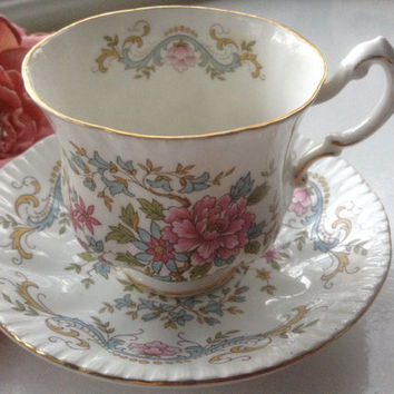 Mandarin Tea Cup Saucer Royal Standard English Bone China Oriental 1970 Tea Party Collectible Floral Bridal Wedding Mother's Day Gift