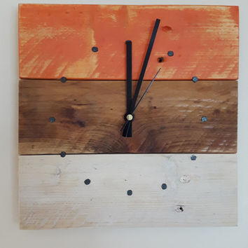 Wall Clock, Wooden Wall Clock, Reclaimed Wood Wall Clock, Wall Clock, Pallet Wood Clock, Square Clock, Rustic Clock, Shabby Chic Clock