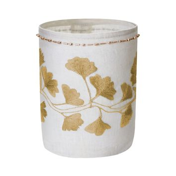 Linen Gold Stitched Ginkgo Votive-S