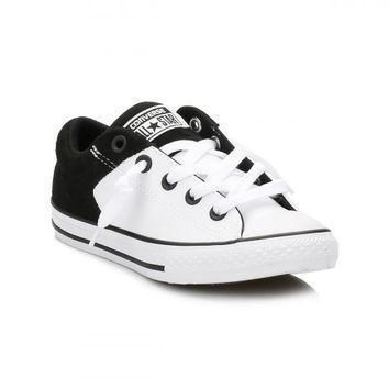 converse junior white black high street trainers